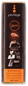 Steviabar mjölkchoklad, mörk ganache och cocoa nibs
