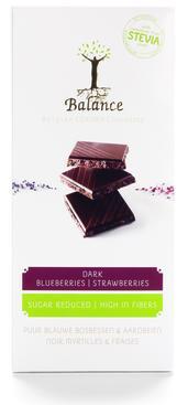 Chokladkaka  - Mörk choklad med blåbär och jordgubbar