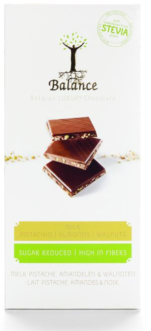 Chokladkaka  - Mjölkchoklad med pistage, mandel och valnötter